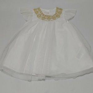 H&M Sheer Dress White Baby Girl 6-9m